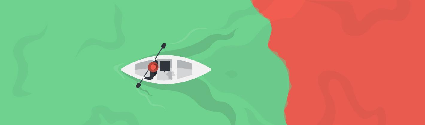 Persona remando lejos del océano rojo